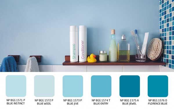 Warna dinding wol biru untuk kamar mandi